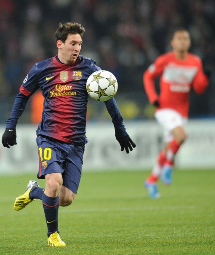 Barcelona's Lionel Messi controls the ball