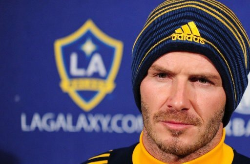 David Beckham of the LA Galaxy arrives at a press conference at the Home Depot Center in Carson, California