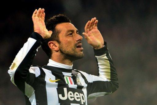 Juventus' Fabio Quaglierella celebrates after scoring
