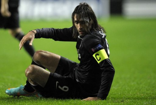 Celtic's Georgios Samaras reacts during the match