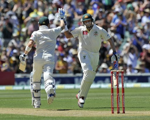 At tea Australia were 280-4 with Michael Clarke unconquered on 104 and Mike Hussey not out 34.