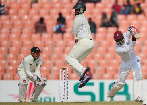 The West Indies lead the two-Test series 1-0 after their 77-run win in the first Test in Dhaka