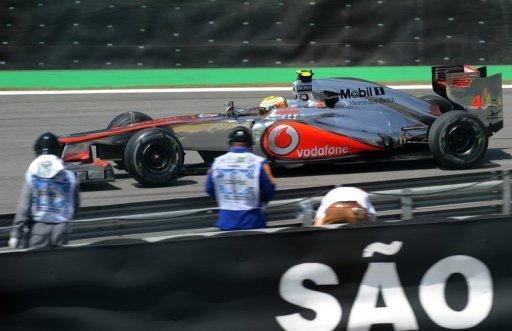 Lewis Hamilton drives his McLaren during free practice at Interlagos in Sao Paulo