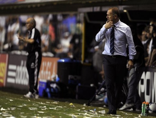Brazilian head football coach Mano Menezes at a match in Buenos Aires