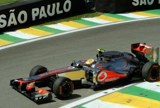 British Formula One driver Lewis Hamilton powers his McLaren during free practice at Interlagos in Sao Paulo, Brazil