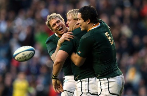 South Africa's Francois Louw (R) was man-of-the-match in last week's 21-10 win over Scotland