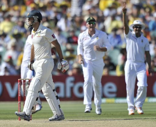 At the close Australia were 111-5 with first innings double centurion Michael Clarke on nine and Mike Hussey on five