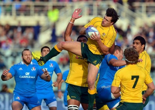 Australia's Adam Ashley-Cooper catches the ball during a Test match against Italy in Florence