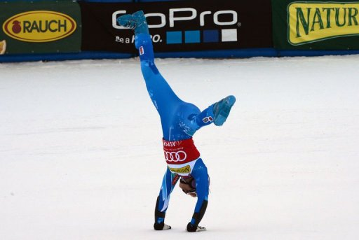 Tina Maze of Slovenia celebrates after winning the women's World Cup giant slalom in Aspen