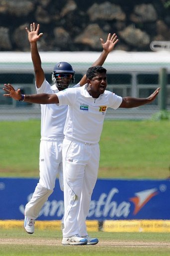 Rangana Herath (R) has already taken 45 wickets in six home Tests, with two hauls of 10 or more wickets in a match