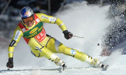 Norway's Aksel Lund Svindal skis to victory in the men's Alpine Skiing World Cup SuperG