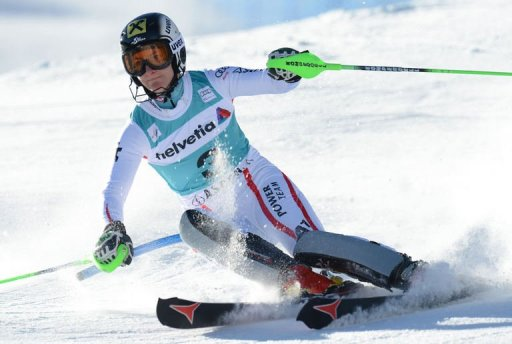 Kathrin Zettel of Austria clears a gate during the first run of the women's World Cup slalom