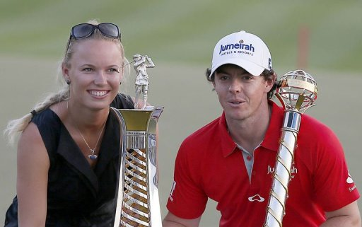 Rory McIlroy poses with his girlfriend, tennis champ Caroline Wozniacki