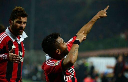 AC Milan's Robinho celebrates after scoring