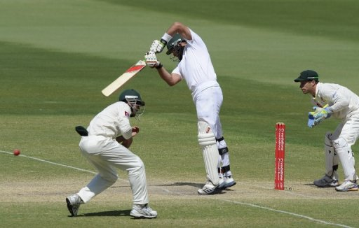 South Africa's Jacques Kallis plays a shot on the final day of the second Adelaide Test