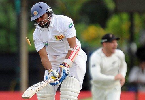 Sri Lankan batsman Tillakaratne Dilshan gets dismissed by Tim Southee