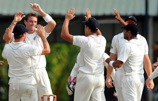 Tim Southee (2nd left) removed Sri Lanka openers Tharanga Paranavitana and Tillakaratne Dilshan