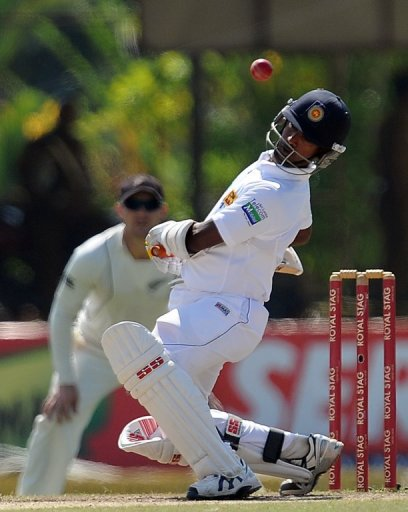 Nuwan Kulasekara is on the receiving end after taking two kew New Zealand wickets earlier in the day