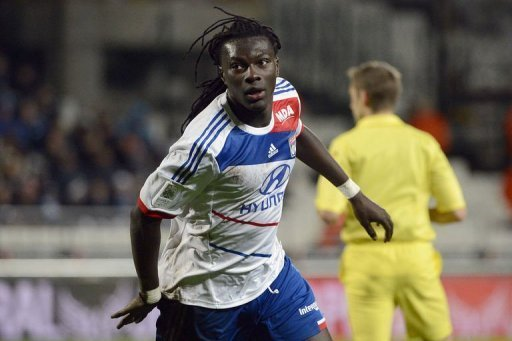 Lyon's Bafetimbi Gomis celebrates after scoring
