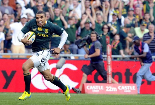 South Africa's Bryan Habana runs to score a try in October