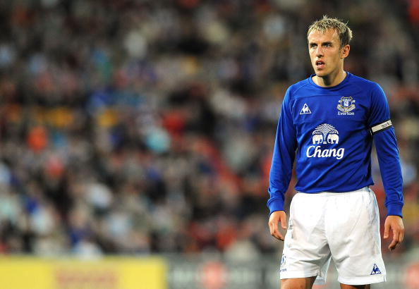 BRISBANE, AUSTRALIA - JULY 17:  Phil Neville of Everton watches on during a pre-season friendly match between Brisbane Roar and Everton at Suncorp Stadium on July 17, 2010 in Brisbane, Australia.