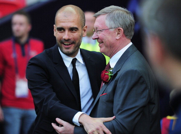 LONDON, ENGLAND - MAY 28:  Guardiola \ greets Sir Alex Ferguson of Manchester United ahead of the UEFA Champions League final at Wembley Stadium. Ferguson's admiration of the Spaniard is no secret.