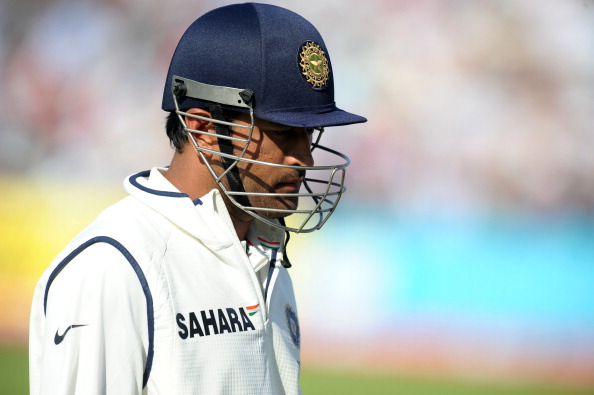 India's MS Dhoni leaves the field after