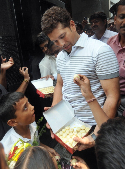 Indian cricketer Sachin Tendulkar distri
