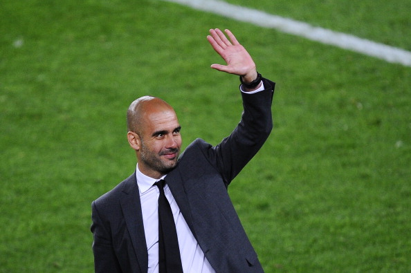 BARCELONA, SPAIN - MAY 05:  Pep Guardiola acknowledges the fans  at Camp Nou in what was his last match at Barcelona.