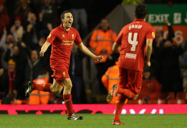LIVERPOOL, ENGLAND - OCTOBER 25:  Stewart Downing of Liverpool celebrates scoring the opening goal during the UEFA Europa League Group A match between Liverpool FC and FC Anzhi Makhachkala at Anfield on October 25, 2012 in Liverpool, England.