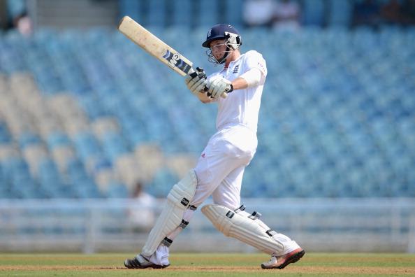 MUMBAI, INDIA - NOVEMBER 03:  Joe Root of England bats during day one of the tour match between Mumbai A and England at The Dr D.Y. Palit Sports Stadium on November 3, 2012 in Mumbai, India.