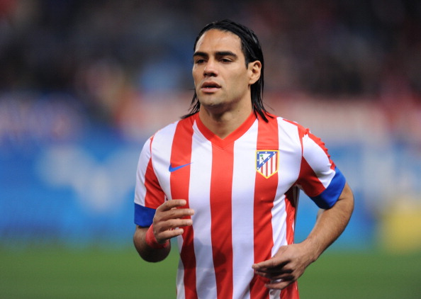 MADRID, SPAIN - NOVEMBER 25:  Radamel Falcao of Club Atletico de Madrid looks on during the La Liga match between Club Atletico de Madrid and Sevilla FC at Vicente Calderon Stadium on November 25, 2012 in Madrid, Spain.
