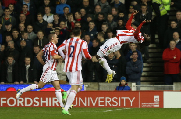 STOKE ON TRENT, ENGLAND - DECEMBER 26:  Kenwyne Jones of Stoke City celebrates scoring his team's second goal during the Barclays Premier League match between Stoke City and Liverpool at the Britannia Stadium on December 26, 2012, in Stoke-on-Trent, England.