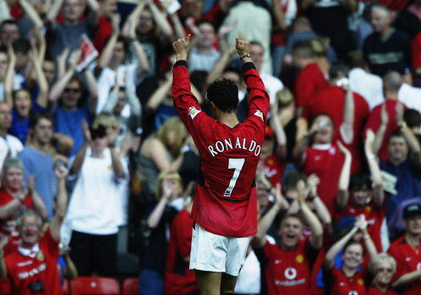Cristiano Ronaldo of Manchester United salutes the fans