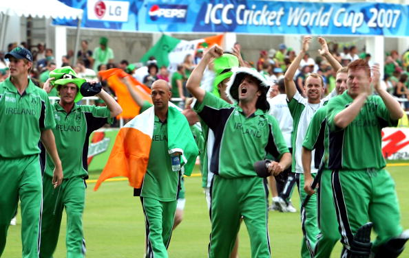 Irish cricketers and their fans celebrat