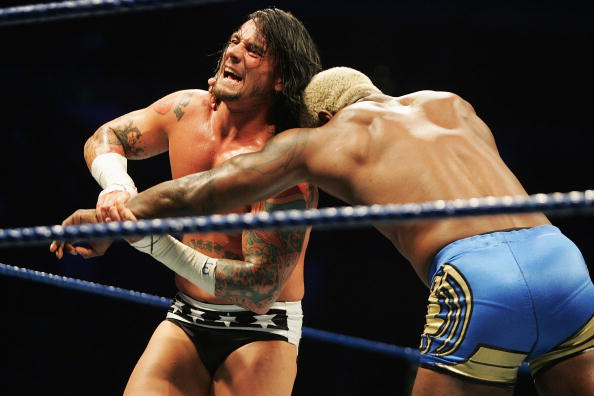 SYDNEY, AUSTRALIA - JUNE 15:  CM Punk wrestles Shelton Benjamin during WWE Smackdown at Acer Arena on June 15, 2008 in Sydney, Australia.
