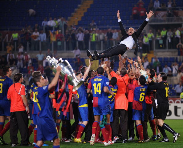 ROME - MAY 27:  Barcelona's Guardiola is  thrown into the air by his players as they celebrate winning the UEFA Champions League Final match against Manchester United at the Stadio Olimpico, in Rome, Italy.