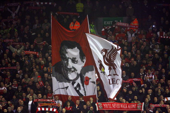 LIVERPOOL, ENGLAND - NOVEMBER 09:  Liverpool fans show off a Bob Paisley banner prior to the Barclays Premier League match between Liverpool and Birmingham City at Anfield on November 9, 2009 in Liverpool, England.