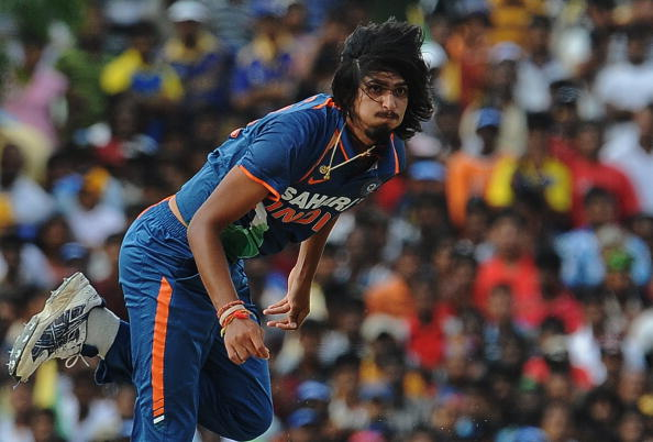 Indian cricketer Ishant Sharma delivers