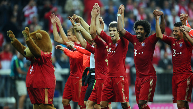 Bayern Munich players celebrating their 6-1 league win over Stuttgart on 2nd September 2012