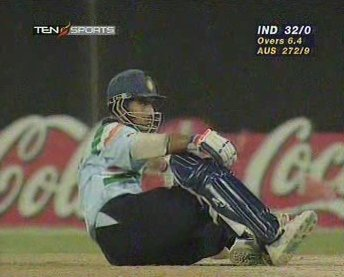 Saurav Ganguly sits up after almost being knocked-out-cold by his team-mate