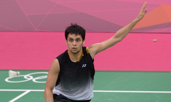 India's Kashyap Parupalli plays a shot a