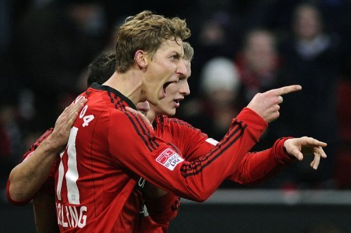 Stefan Kiessling (L) scored Leverkusen's winner in the 37th minute