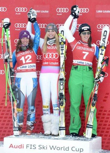 L-R: Stacey Cook, Lindsey Vonn and Marianne Kaufmann-Abderhalden