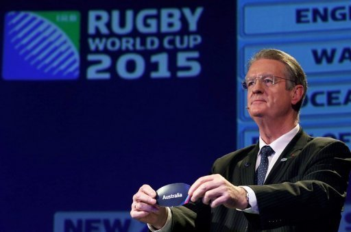Bernard Lapasset, Chairman of the IRB, draws Australia during the IRB Rugby World Cup 2015 pool allocation draw