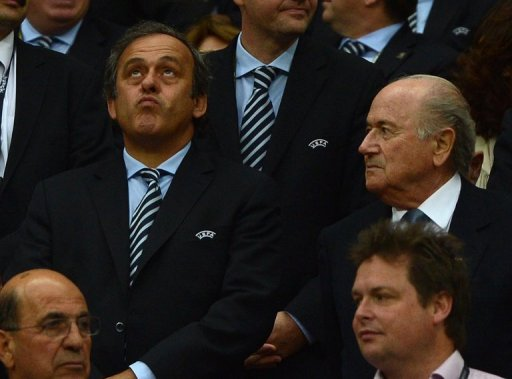 Michael Platini (left) suggests staging the European championships across 12 or 13 cities
