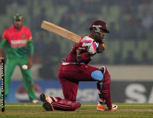West Indies cricketer Darren Bravo plays a shot