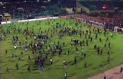 Al Masry fans stormed the pitch after their team beat the visitors from Cairo 3-1