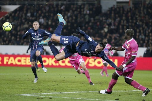 Paris Saint-Germain's forward Zlatan Ibrahimovic kicks the ball (C)