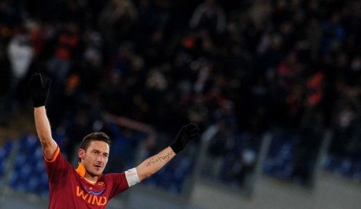 AS Roma forward Francesco Totti celebrates after scoring